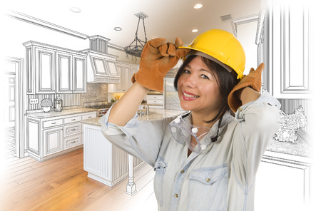 hispanic: Pretty Hispanic Woman in Hard Hat and Gloves with Kitchen Drawing and Photo Gradation Behind. Stock Photo