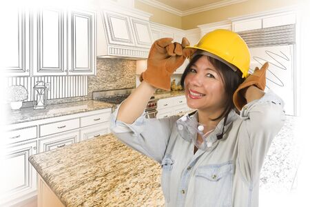 woman behind: Pretty Hispanic Woman in Hard Hat and Gloves with Kitchen Drawing and Photo Gradation Behind. Stock Photo