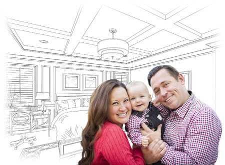 young family: Happy Young Family With Baby Over Custom Bedroom Drawing.