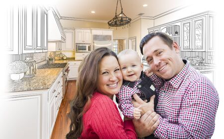 young family: Happy Young Family Over Custom Kitchen Design Drawing and Photo Combination.