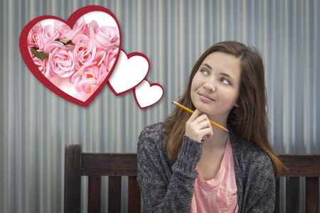 teenaged girls: Cute Daydreaming Girl Next To Floating Hearts with Pink Roses.