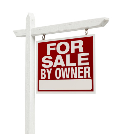 estate: For Sale By Owner Real Estate Sign Isolated on a White Background.