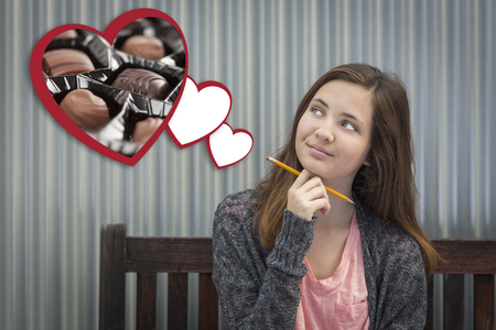teenaged girls: Cute Daydreaming Girl Next To Floating Hearts with Chocolates.
