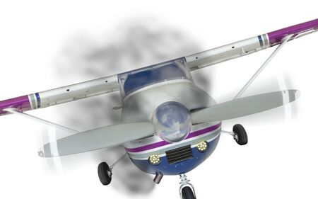 cessna: Front of a Cessna 172 With Smoke Coming From Engine on White. Stock Photo