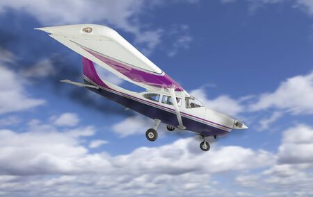 cessna: The Cessna 172 With Smoke Coming From The Engine Heading Down. Stock Photo