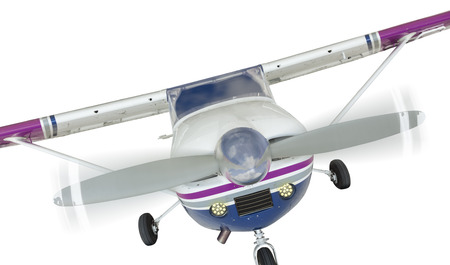 cessna: The Front of A Cessna 172 Single Propeller Airplane Isolated On A White Background.
