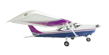 cessna: The Cessna 172 Single Propeller Airplane Isolated On White. Stock Photo
