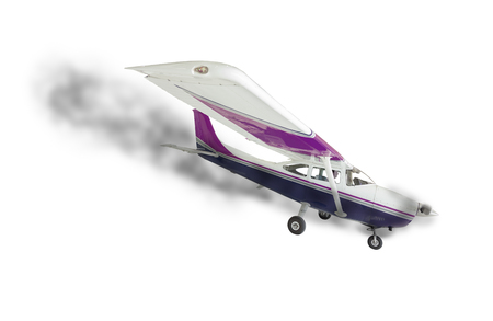 The Cessna 172 With Smoke Coming From Engine on a White Background.