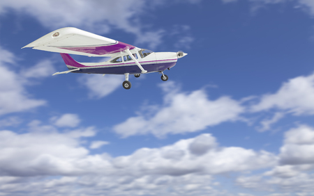 airborne: The Cessna 172 Single Propeller Airplane Flying In The Sky.