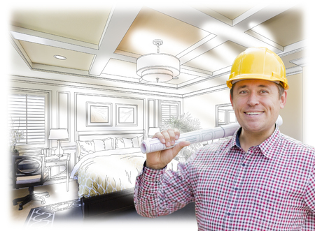 contractor: Smiling Contractor in Hard Hat with Roll of Plans Over Custom Bedroom Drawing and Photo Combination.