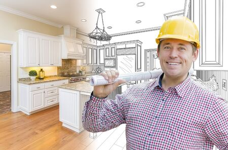 builder: Smiling Contractor in Hard Hat with Roll of Plans Over Custom Kitchen Drawing and Photo Combination.