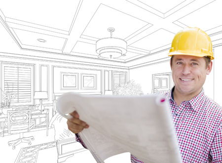 contractor: Smiling Contractor in Hard Hat with Level Over Custom Bedroom Drawing.