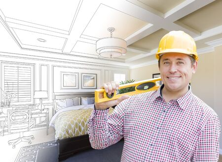 hard hat: Smiling Contractor in Hard Hat with Level Over Custom Bedroom Drawing and Photo Combination.