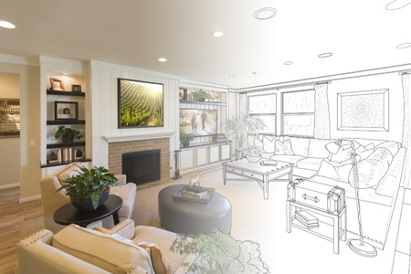 drawing room: Custom Living Room Drawing Gradation Into Photograph.