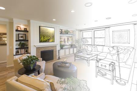gradation: Custom Living Room Drawing Gradation Into Photograph.