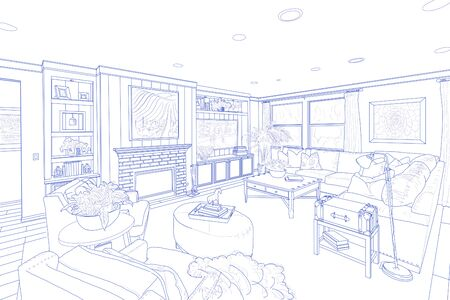 drawing room: Detailed Blue Line Drawing of a Custom Living Room. Stock Photo