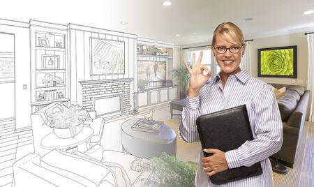 real estate agent: Woman with Okay Sign Over Custom Bedroom Drawing and Photo Combination. Stock Photo