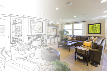 custom home: Custom Living Room Drawing Gradation Into Photograph.