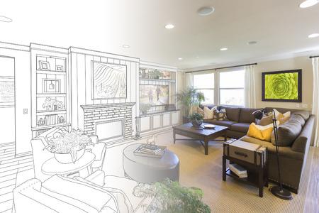 Custom Living Room Drawing Gradation Into Photograph.