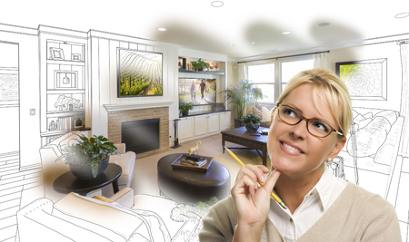 Vrouw met potlood over Living Room Design Tekenen en Photo Combinatie. Stockfoto - 55789128