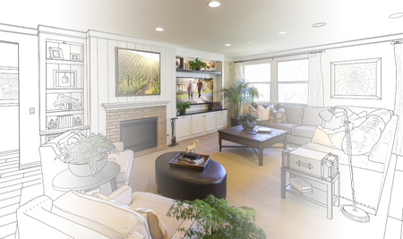 drawing room: Custom Living Room Drawing Gradation Into Photograph.
