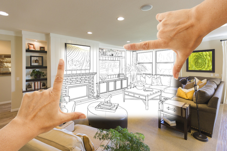 housing project: Female Hands Framing Custom Living Room Drawing Photograph Combination.
