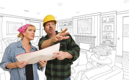 woman male: Male Contractor Talking Plans With Woman Over Custom Living Room Drawing. Stock Photo