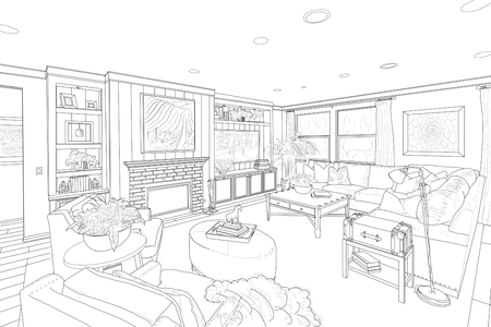 Detailed Black Line Drawing of a Custom Living Room.