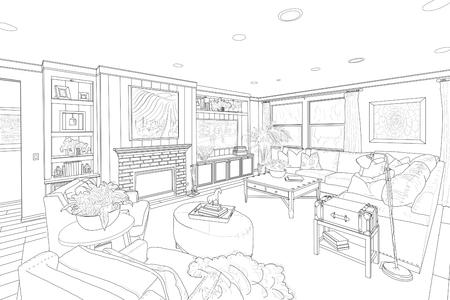 lijntekening: Gedetailleerde zwarte lijntekening van een aangepaste Living Room.