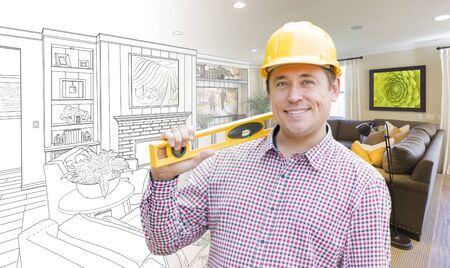 drawing room: Smiling Contractor in Hard Hat with Level Over Custom Living Room Drawing and Photo Combination. Stock Photo
