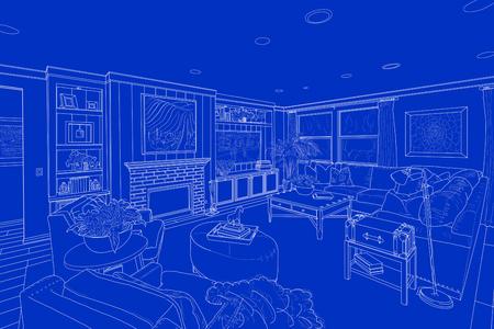 사용자 지정 거실의 파란색에 상세한 흰 선 그리기.