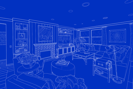 an example: Detailed White Line Drawing On Blue of a Custom Living Room.
