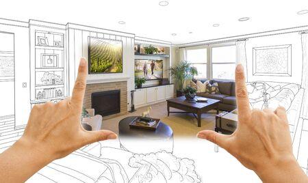 Vrouwelijke Handen Framing Custom Living Room Drawing Foto Combinatie.