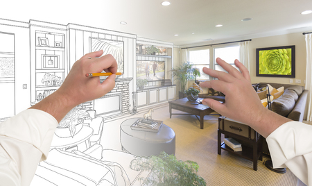 Male Hands Drawing Custom Living Room Design Gradating Into Photograph. Banque d'images