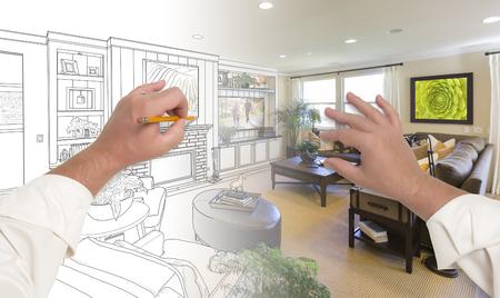 Male Hands Drawing Custom Living Room Design Gradating Into Photograph. Archivio Fotografico