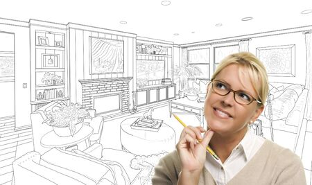 living room design: Woman With Pencil Over Custom Living Room Design Drawing.
