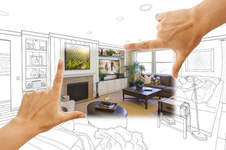framing: Female Hands Framing Custom Living Room Drawing Photograph Combination.