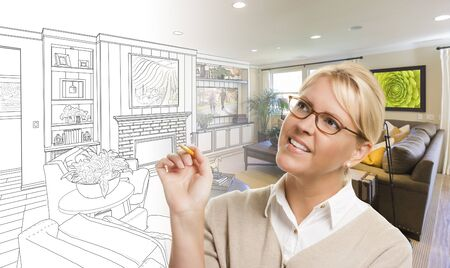 living room design: Woman With Pencil Over Living Room Design Drawing and Photo Combination.