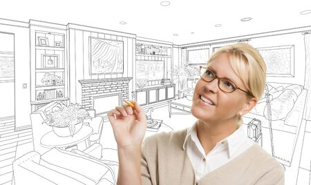 pencil drawing: Woman With Pencil Over Custom Living Room Design Drawing.