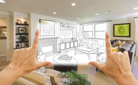 living room design: Female Hands Framing Custom Living Room Drawing Photograph Combination.