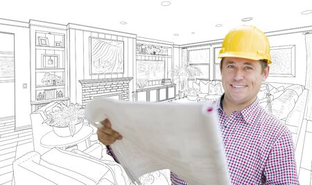 drawing room: Smiling Contractor Holding Blueprints Over Custom Living Room Drawing.