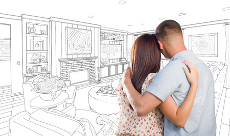 military draft: Curious Young Military Couple Looking Over Custom Living Room Design Drawing.