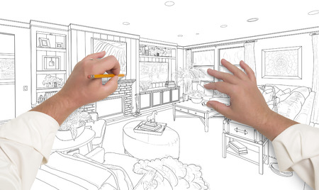 drawing room: Male Hands Drawing Custom Living Room Design on White. Stock Photo