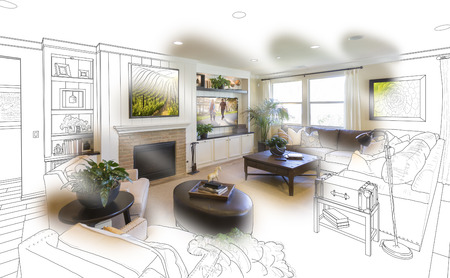 Custom Living Room Drawing Brush Stoke Gradation Into Photograph. Stock Photo - 55787490