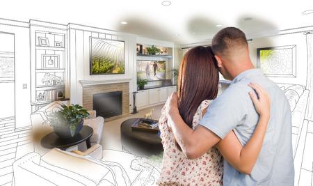 #55787496   Neugierig Paar Junge Militär Schauen über Benutzerdefinierte  Wohnzimmer Design Zeichnung Foto Kombination.