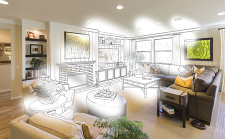 drawing room: Custom Living Room Drawing Brush Stoke Gradation Into Photograph.