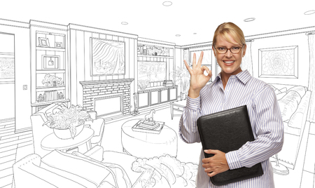 do it yourself: Woman with Okay Sign Over Custom Bedroom Drawing.