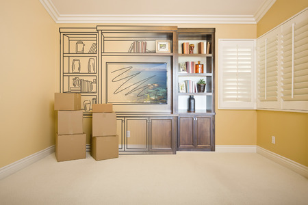 envisioning: Moving Boxes In Room with Entertainment Unit Drawing Gradating to Photograph.
