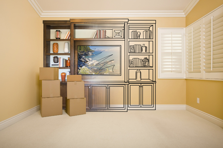 drawing room: Moving Boxes In Room with Entertainment Unit Drawing Gradating to Photograph.