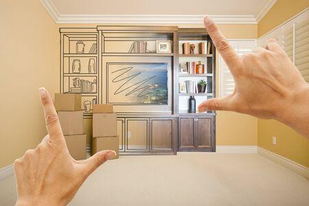 hacer: Manos que enmarcan Dibujo de entretenimiento Unidad gradating En fotografía en la habitación con las cajas móviles. Foto de archivo